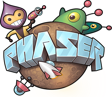 Phaser logo and link