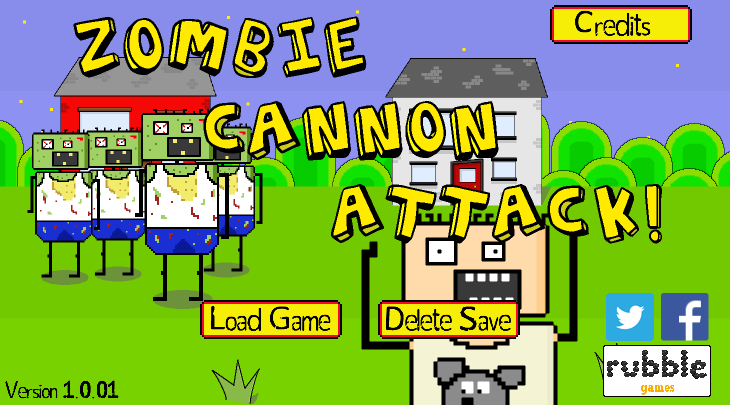 Title screen of Zombie Cannon Attack!